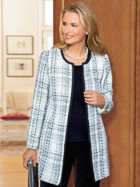 Bouclé Check Long Jacket