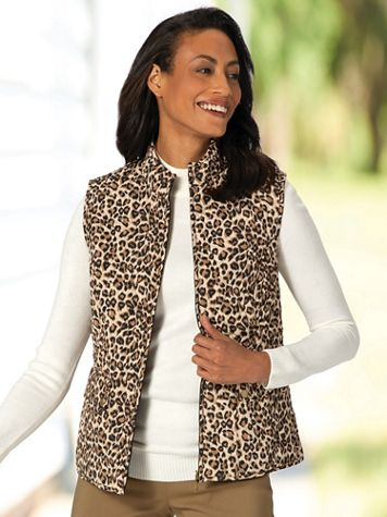 Quilted Animal Print Reversible Vest - Image 1 of 8