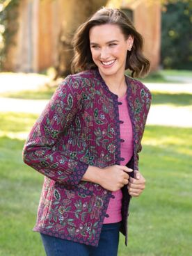 Jacobean Floral Reversible Quilted-Cotton Jacket
