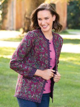 Jacobean Floral Reversible Quilted-Cotton Jacket