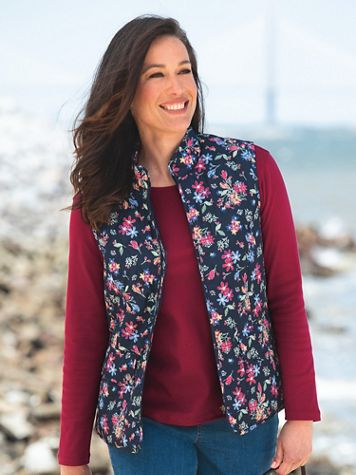 Floral-Print Quilted Zip Vest - Image 1 of 4