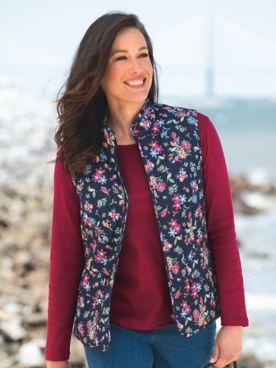 Floral-Print Quilted Zip Vest