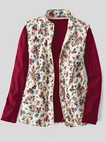 Floral-Print Quilted Zip Vest - Image 2 of 2