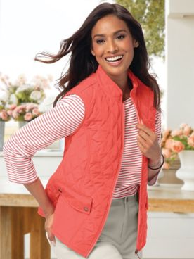 Quilted Gingham Reversible Vest