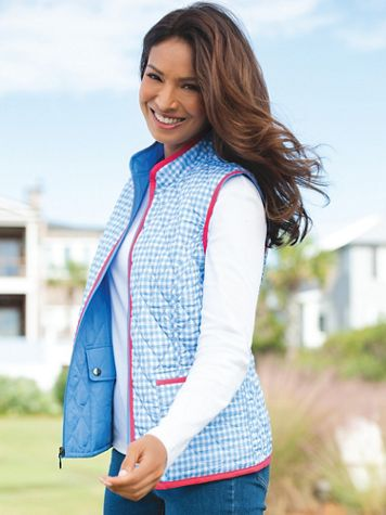 Quilted Gingham Reversible Vest - Image 3 of 3