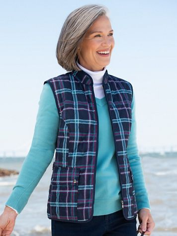 Quilted Jewel Tone Plaid Vest - Image 2 of 2