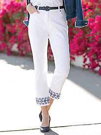 Embroidered Ankle Jeans
