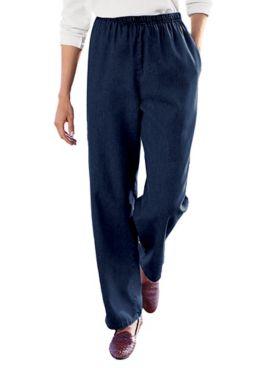 Tencel®/Cotton Denim Elastic-Waist Pants