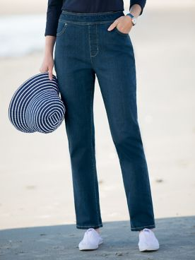 Denim Pull-On Pants