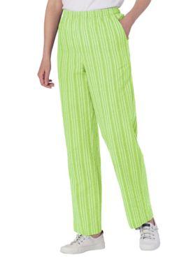 Seersucker Stripe Elastic-Waist Pants