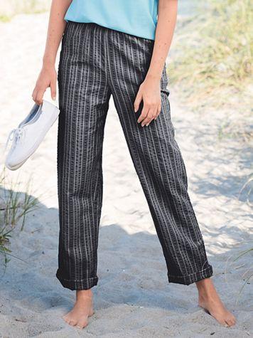 Seersucker Stripe Elastic-Waist Pants - Image 1 of 5