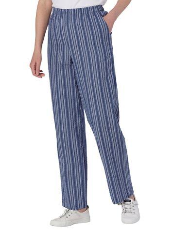 Seersucker Stripe Elastic-Waist Pants - Image 1 of 2
