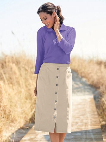 Knit Denim Button Front Skirt - Image 1 of 10