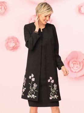 Embroidered Crepe Jacket Dress