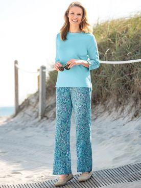 Tropical Fern Print Pants