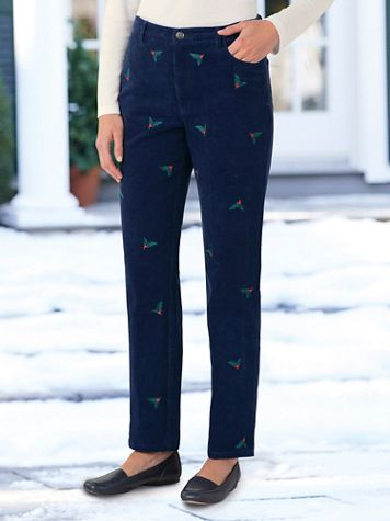 Embroidered Pincord 5-Pocket Pants