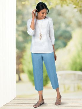 Tencel®/Cotton Wide-Leg Cropped Pants