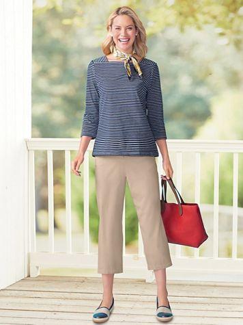 Tencel®/Cotton Wide-Leg Cropped Pants - Image 1 of 3