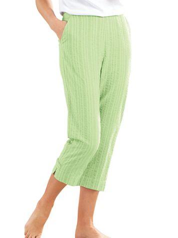 Seersucker Cropped Elastic-Waist Pants