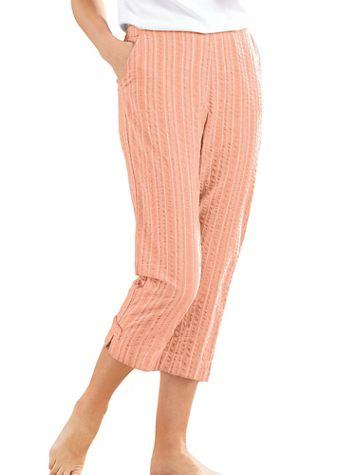 Seersucker Cropped Elastic-Waist Pants - Image 3 of 4