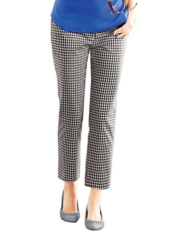 Stretch Gingham Ankle Pants