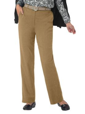 Stretch Wool Gabardine Fly-Front Pants