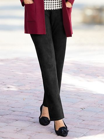 Knit Faux-Suede Slim-Leg Pull-On Pants - Image 3 of 3