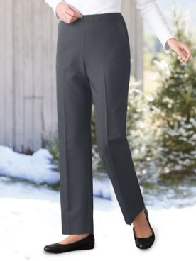 Washable Wool-Blend Pull-On Pants