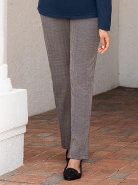 Herringbone Stretch Knit Fly-Front Pants