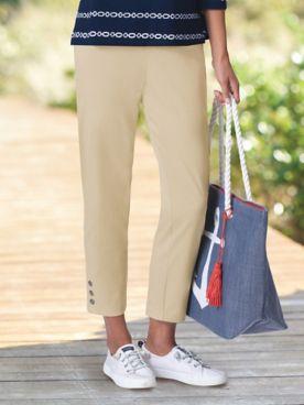 Knit Denim Side-Button Cropped Jeans