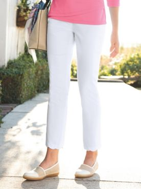 Scalloped-Hem Comfort-Waist Ankle Pants
