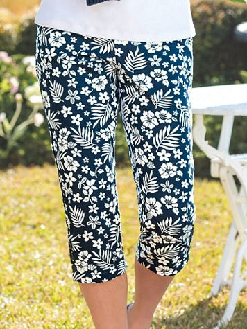 Dennisport Palm-Print Button-Cuff Capris - Image 3 of 3
