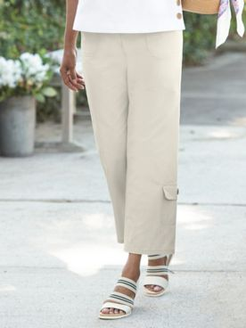 Captiva Cotton One-Pocket Cropped Pants