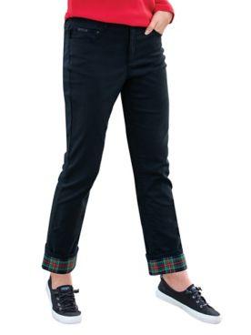 DreamFlex Tartan-Cuff Comfort-Waist Jeans