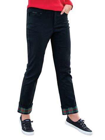 DreamFlex Tartan-Cuff Comfort-Waist Jeans - Image 3 of 3