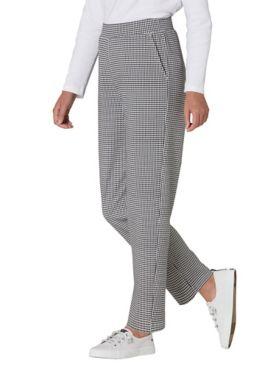 Check-Print Everyday Knit Straight Leg Pants