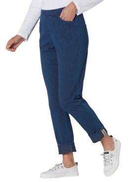 Knit Denim Cuff-Detail Jeans
