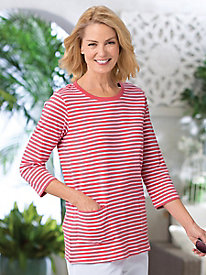 3/4-Sleeve Patch Pocket Stripe Tee by Koret