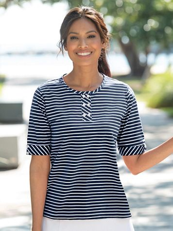 Mini Statement-Stripe Cotton Knit Henley