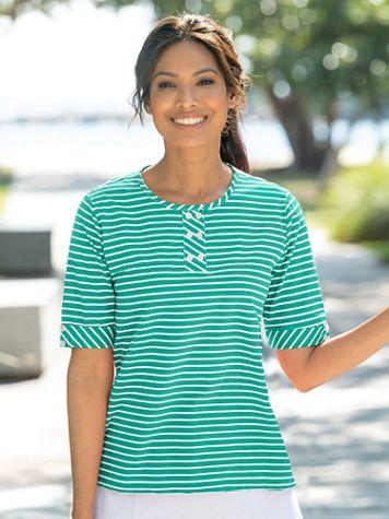 Mini Statement-Stripe Cotton Knit Henley - Image 1 of 9