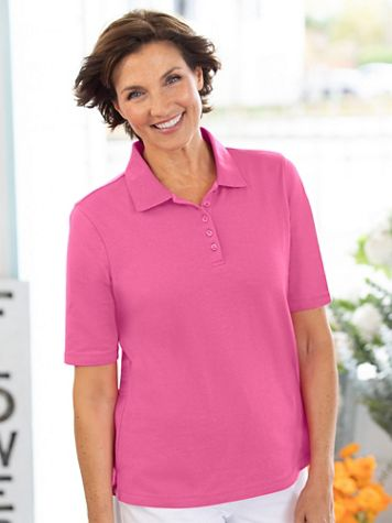 Essential Cotton Knit Elbow-Sleeve Polo