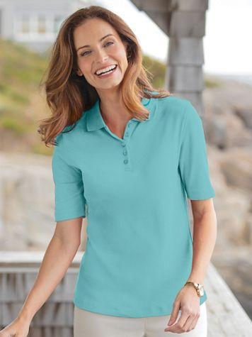 Essential Cotton Knit Elbow-Sleeve Polo - Image 1 of 11