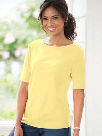 Coastal Cotton Elbow-Sleeve Boatneck Tee