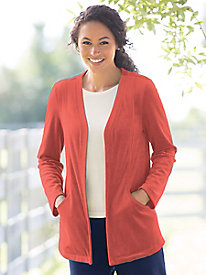 Velour Draped Pocket Cardigan