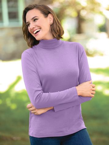 Essential Solid Long-Sleeve Cotton Turtleneck - Image 1 of 21
