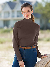 Essential Solid Long-Sleeve Cotton Turtleneck