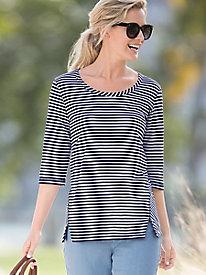 Mini Statement-Stripe Seamed Tunic