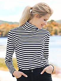 Essential Cotton Print Turtleneck