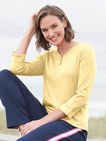 Essential Roll-Sleeve Henley - Image 1 of 3