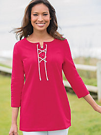 Solid Lace-Up Tunic